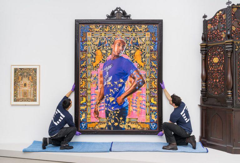 UOVO Art Handlers Installing Kehinde Wiley Painting