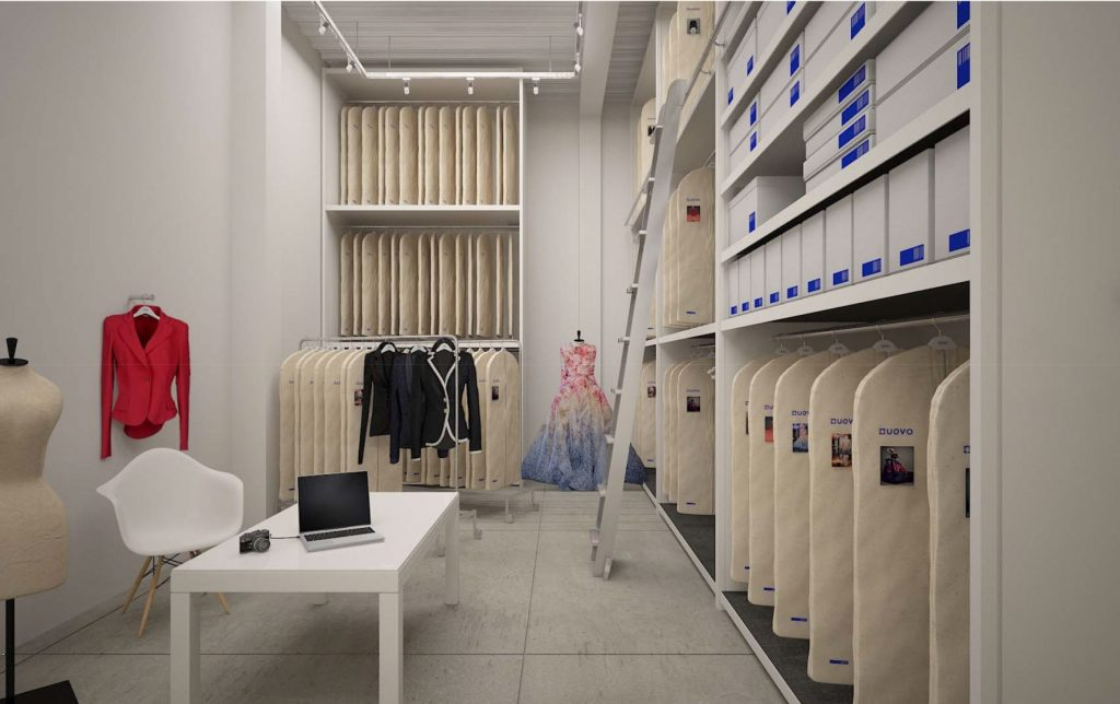 A rendering of a UOVO fashion storage room