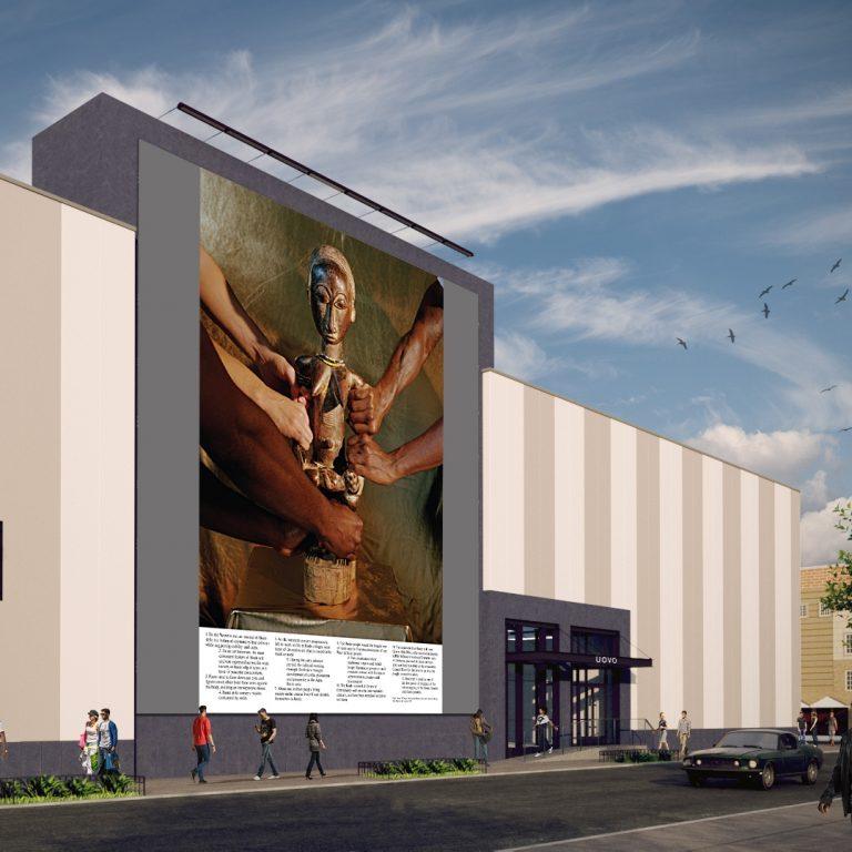 Rendering of John Edmonds UOVO: Prize mural at UOVO: BROOKLYN storage facility in Bushwick