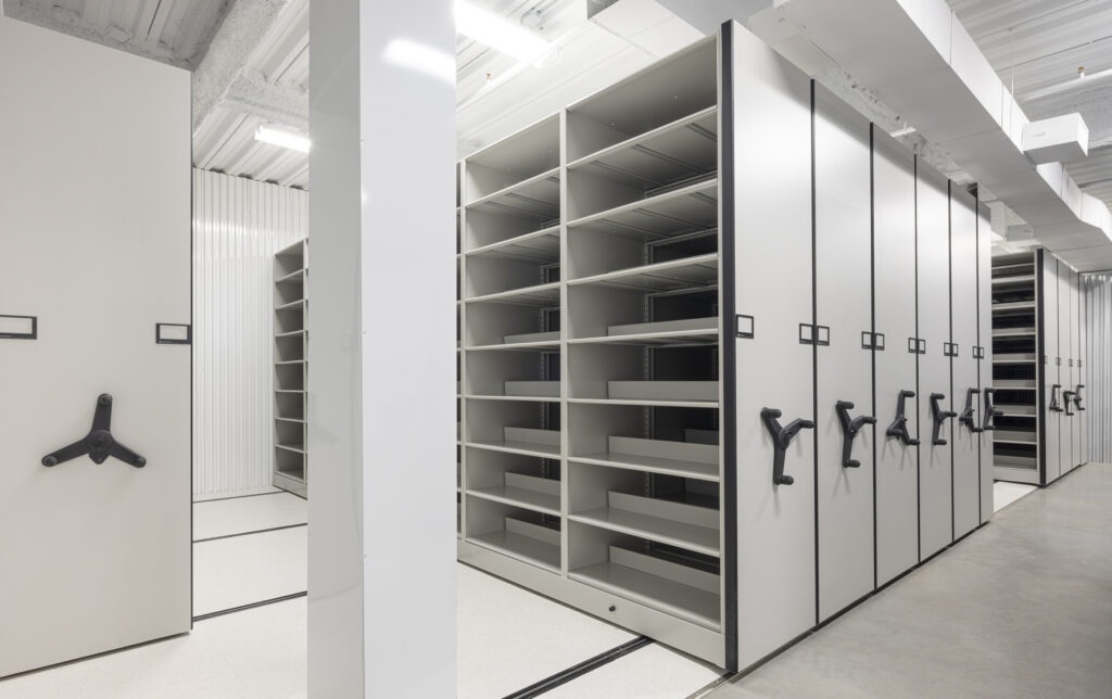 Museum racking in a private storage room at UOVO